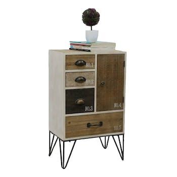 Chiffonnier 4 tiroirs, 1 porte, bois en Patchwork de couleurs et d'effets et pieds métal en épingle 48x32,5x80,5cm LAZURO