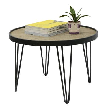 Table ronde D65cm plateau bois cerclé métal et pieds métal en épingle D65xH45cm LAZURO