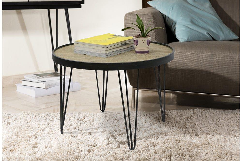 Table ronde D79,5cm plateau bois cerclé métal et pieds métal en épingle D79,5xH54,5cm LAZURO
