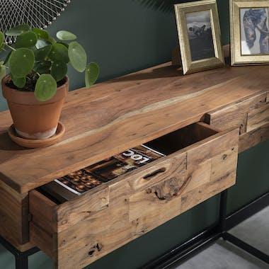 Console 2 tiroirs bois d'acacia sablé PERTH
