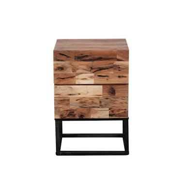 Table de chevet bois d'acacia sablé 2 tiroirs PERTH