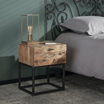 Table de chevet bois d'acacia sablé 1 tiroir PERTH