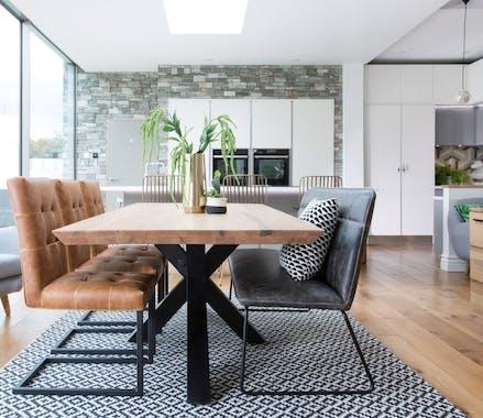 Table à manger bois métal pied croisé 200 cm VOLGA