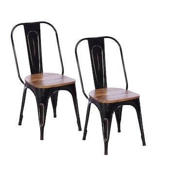 Chaise industrielle métal bois recyclé LEEDS (lot de 2)