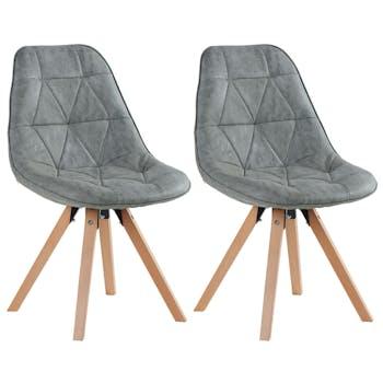 Lot de 2 chaises capitonnées pieds hêtre massif MAYA