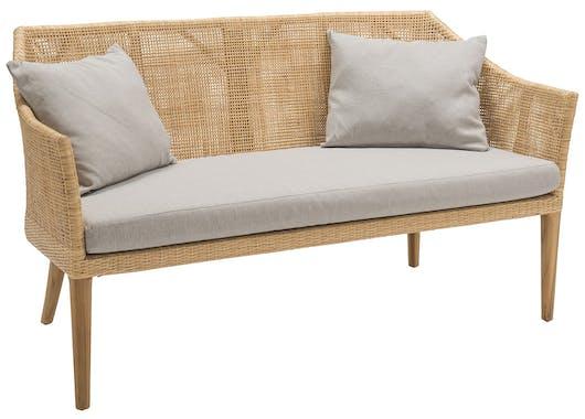 Canapé en rotin avec assise et 2 coussins DEAUVILLE KOK