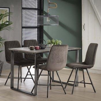 Table à manger rectangulaire effet béton piètement cadre 120 cm HELSINKI