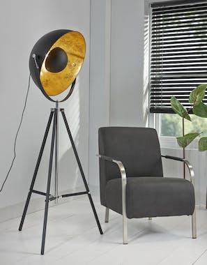 Lampe projecteur noire intérieur or sur trépied TRIBECA