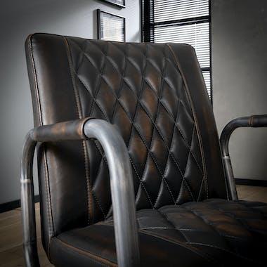 Fauteuil industriel brun motif diamant MELBOURNE