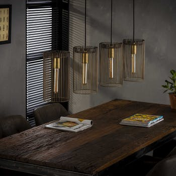 Suspension filaire industrielle bronze vieilli 4 cylindres TRIBECA