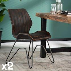 Chaise vintage délavé brun piètement pont MELBOURNE (lot de 2)