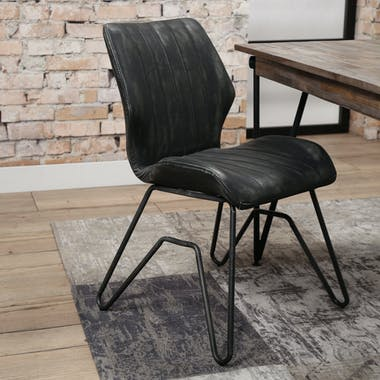 Chaise vintage délavé anthracite piètement pont MELBOURNE (lot de 2)
