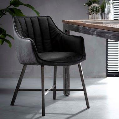 Fauteuil de table rembourré noir bandes verticales MELBOURNE