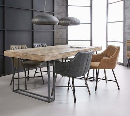 Fauteuil de table rembourré brun bandes verticales MELBOURNE