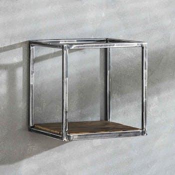 Petite étagère cubique bois recyclé brut métal vieilli OMSK