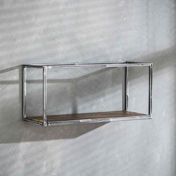 Etagère rectangulaire bois recyclé brut métal vieilli 65 cm OMSK