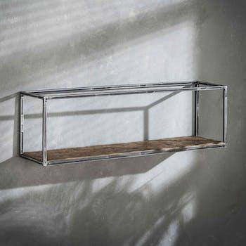 Etagère rectangulaire bois recyclé brut métal vieilli 100 cm OMSK