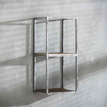 Etagère verticale bois recyclé brut métal vieilli 2 niveaux OMSK