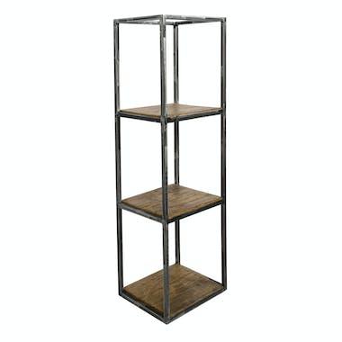 Etagère verticale bois recyclé brut métal vieilli 3 niveaux OMSK