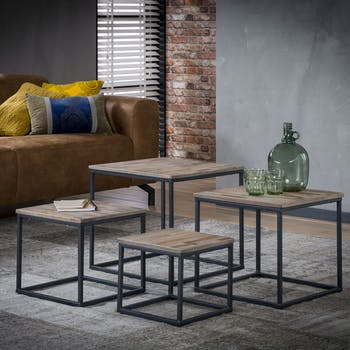 Table de salon carrée lamelles de teck recyclé OMSK (lot de 4)