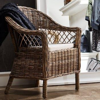 Fauteuil / Chaise de salle à manger en rotin motif croisé, coussin 58x83cm ROYAN