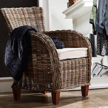 Fauteuil / Chaise de salle à manger rotin accoudoirs ronds coussin 69x90cm ROYAN