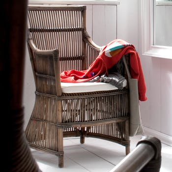 Fauteuil / Chaise de salle à manger en rotin accoudoirs coussin 56x103cm ROYAN