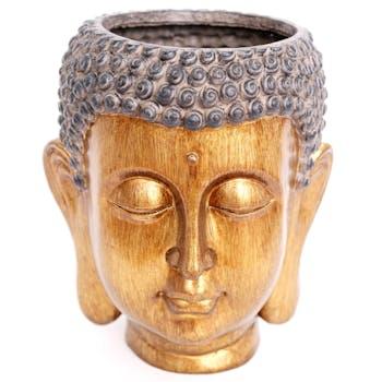 Cache-pot tête de bouddha couleur bronze