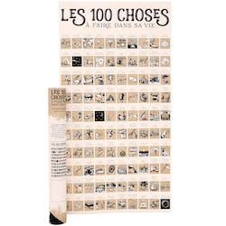"""Poster à gratter """"les 100 choses"""" 74 cm"""