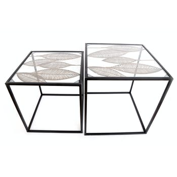Table basse  gigogne motif feuilles (lot de 2)