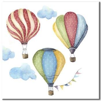 Tableau enfant 3 montgolfières aluminium
