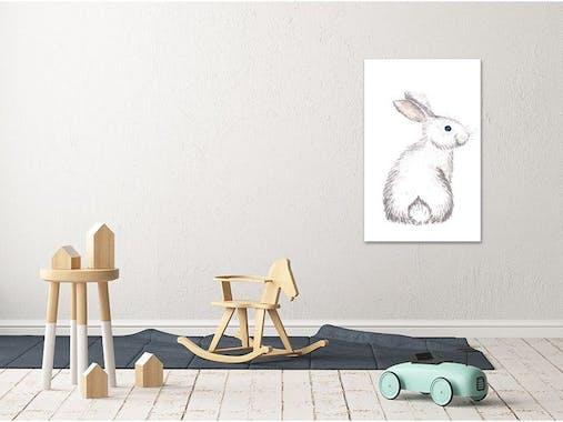 Tableau enfant lapin blanc aluminium