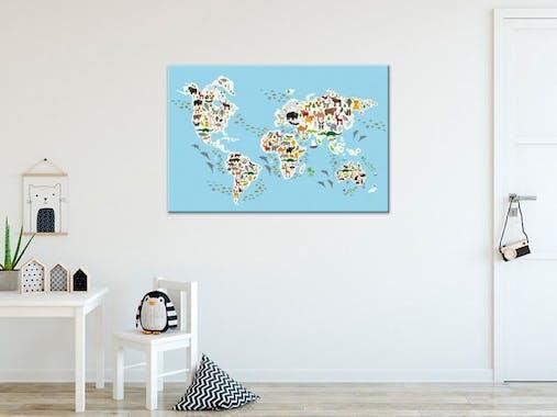 Tableau enfant atlas animaux du monde aluminium