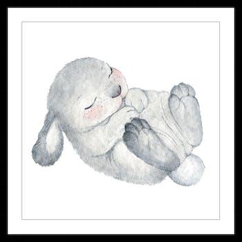 Affiche enfant encadrée lapin gris