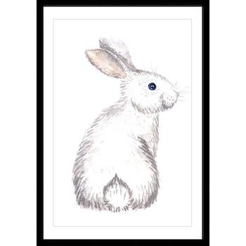 Affiche enfant encadrée lapin blanc