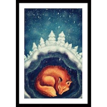 Affiche enfant encadrée renard endormi