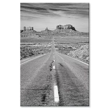 Tableau design route Grand Canyon noir et blanc aluminium