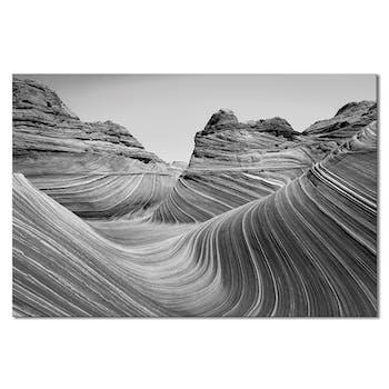 Tableau design roches Grand Canyon noir et blanc aluminium