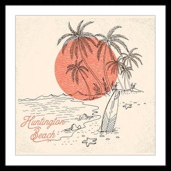 Affiche décorative encadrée vintage Huntington Beach