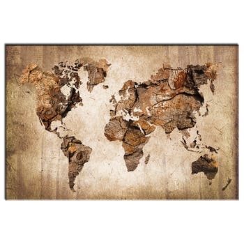 Tableau plexiglas planisphère fond brun