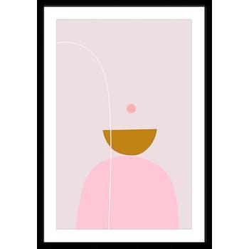 Affiche décorative encadrée graphique lilas et rose