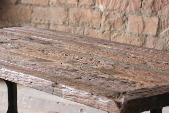 Table à manger industrielle bois recyclé brut plaque verre 180 cm KOURSK