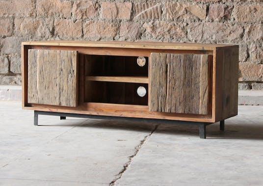Meuble tv industriel façade bois recyclé brut KOURSK