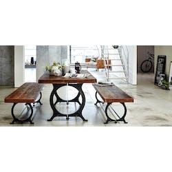 Table à manger industrielle vintage bois recyclé 180 cm LEEDS