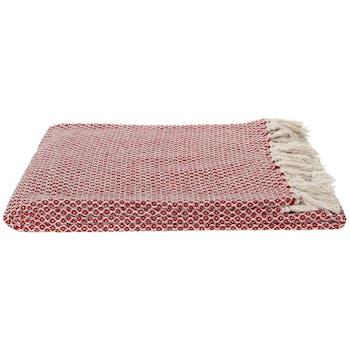 Plaid rouge marsala à franges 170x130 cm
