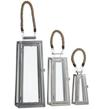Lanterne forme trapèze gris (lot de 3)