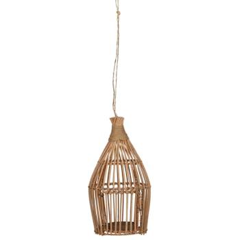Lanterne à suspendre rattan naturel H 35 cm