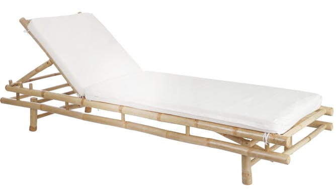 Transat en bambou naturel avec coussin écru