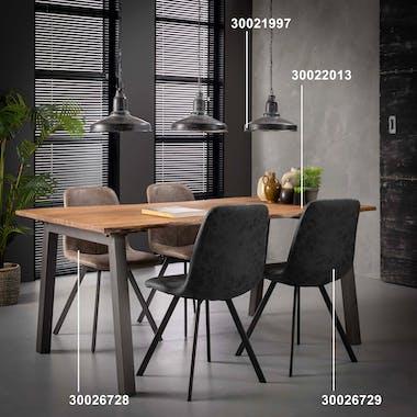 Chaise salle à manger noire piètement plat (lot de 2) JAVA