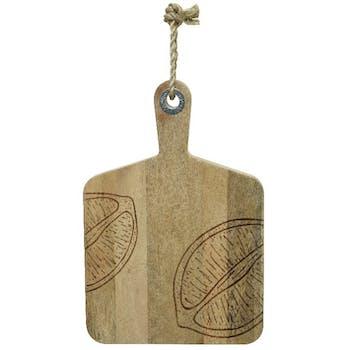 Planche à découper en bois de manguier motif citron M1